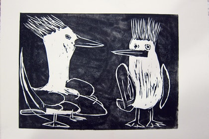 (CreativeWork) Milly and Mike - Crested Terns Ed. 2 of 50 by Rachel Carroll. print. Shop online at Bluethumb.