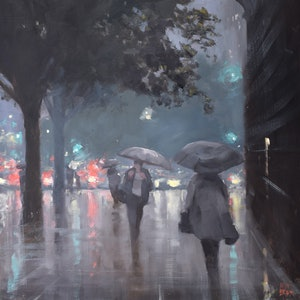 (CreativeWork) Showers on King William Street by Mike Barr. oil-painting. Shop online at Bluethumb.