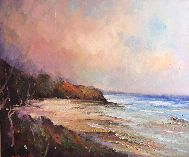 (CreativeWork) Low tide at Inverloch beach by Liliana Gigovic. oil-painting. Shop online at Bluethumb.