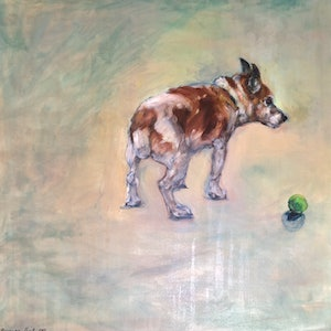 (CreativeWork) Old Dog by Bronwen Hunt. oil-painting. Shop online at Bluethumb.
