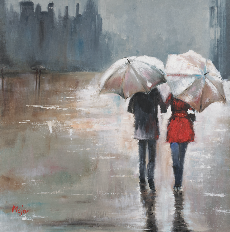 Couple Under The Rain With Umbrella By Keili Major