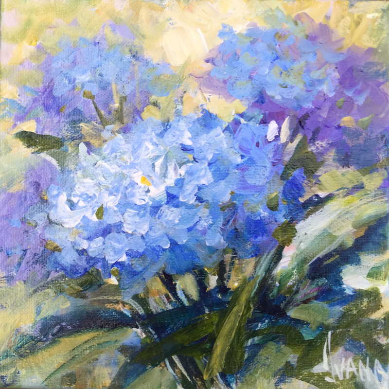 (CreativeWork) Hydrangeas  by Ivana Pinaffo. arcylic-painting. Shop online at Bluethumb.