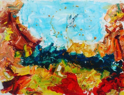 (CreativeWork) flight to the golden sea by Carol Barroso. oil-painting. Shop online at Bluethumb.