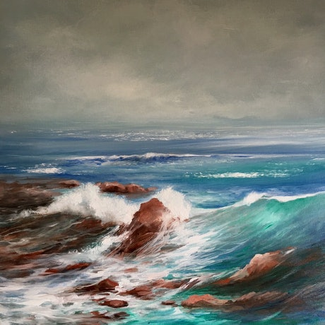 (CreativeWork) Washed Up by Kathryn Johnston. Oil Paint. Shop online at Bluethumb.