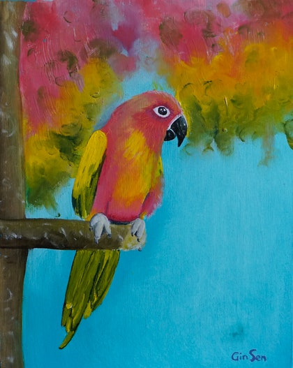 (CreativeWork) Pink Parrot by Gin Sen. oil-painting. Shop online at Bluethumb.