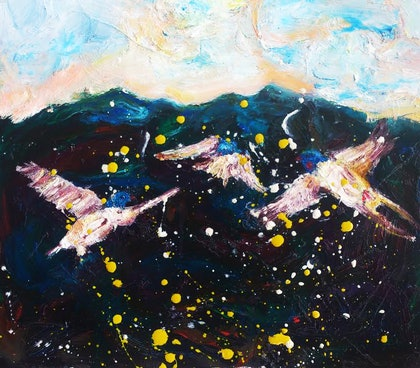(CreativeWork) wollumbin swallows by Carol Barroso. oil-painting. Shop online at Bluethumb.