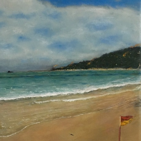 (CreativeWork) Beach at Lorne by Paul Bartholomeusz. Oil Paint. Shop online at Bluethumb.