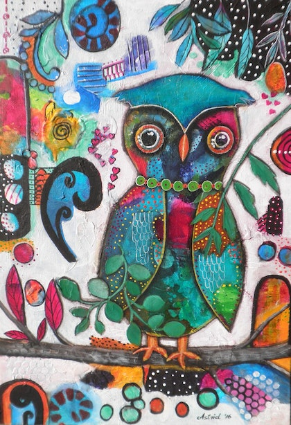 (CreativeWork) Inky Owl Painting by Astrid Rosemergy. arcylic-painting. Shop online at Bluethumb.