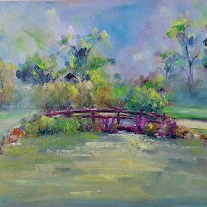 (CreativeWork) Lovely bridge at Cranbourne Golf course by Zdenka Better. oil-painting. Shop online at Bluethumb.