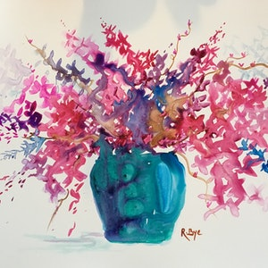 (CreativeWork) Blue glass vase of cherry blossom .  by Ruth Bye. watercolour. Shop online at Bluethumb.