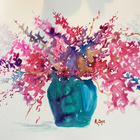 (CreativeWork) Blue glass vase of cherry blossom .  by Ruth Bye. Watercolour Paint. Shop online at Bluethumb.