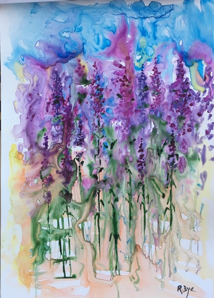 (CreativeWork) Lavender Garden . by Ruth Bye. watercolour. Shop online at Bluethumb.