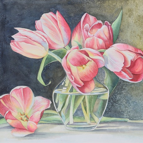(CreativeWork) Bouquet of tulips. Original watercolor painting. by Alla Art. Watercolour Paint. Shop online at Bluethumb.