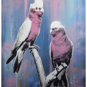 (CreativeWork) Pretty In Pink by Geoff Cunningham. mixed-media. Shop online at Bluethumb.