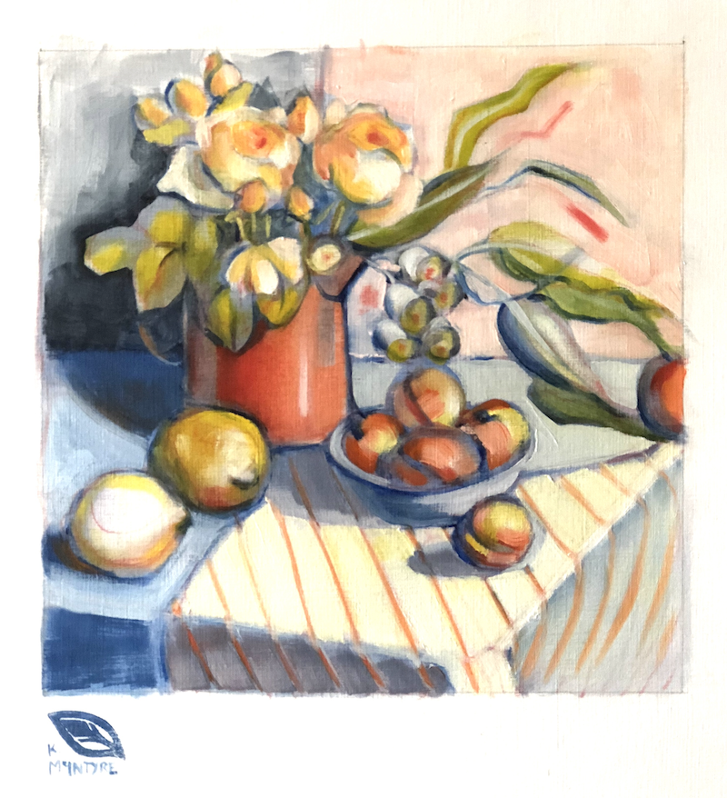 (CreativeWork) Still life with roses and nectarines by kirsty mcintyre. oil-painting. Shop online at Bluethumb.