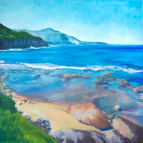 (CreativeWork) At the Seacliff Bridge by Michelle Angelique. Oil Paint. Shop online at Bluethumb.