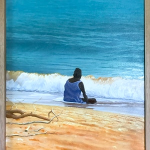 (CreativeWork) Rising Tide at Rapid Creek by Mike Rule. oil-painting. Shop online at Bluethumb.