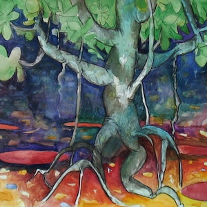 (CreativeWork) The Fig Tree  by John Graham. Mixed Media. Shop online at Bluethumb.