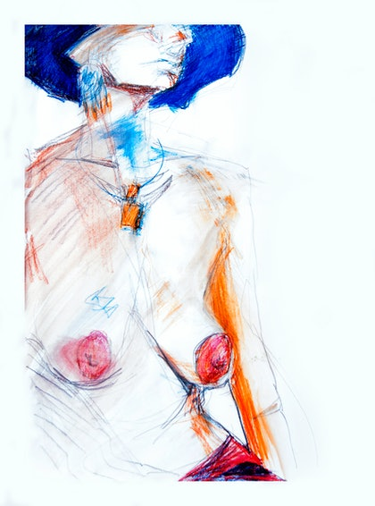 (CreativeWork) Retro Nude by Ellen Howell. drawing. Shop online at Bluethumb.