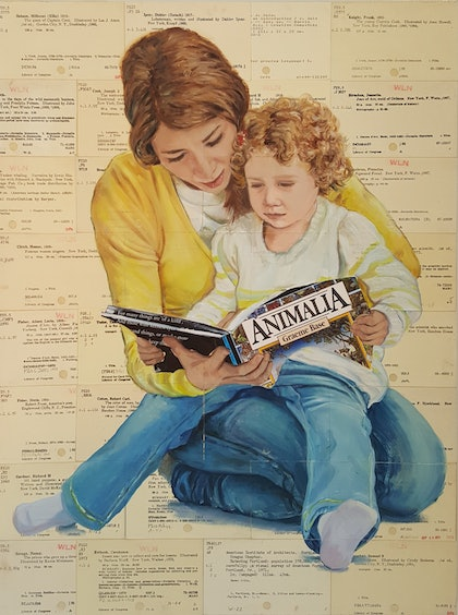 (CreativeWork) Touching Base - book mum read child library  by Sherry McCourt. mixed-media. Shop online at Bluethumb.