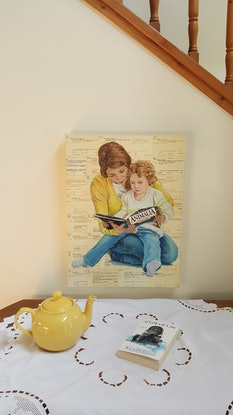 (CreativeWork) Touching Base - book mum read child library  by Sherry McCourt. Mixed Media. Shop online at Bluethumb.
