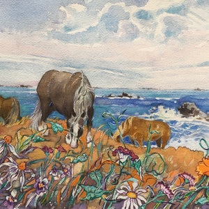 (CreativeWork) Summer Grazing Brittany by Sandra Laroche. watercolour. Shop online at Bluethumb.