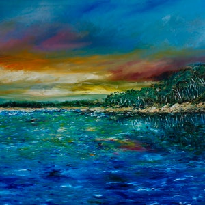 (CreativeWork) The Chain of Lagoons by Georgina Richmond. oil-painting. Shop online at Bluethumb.