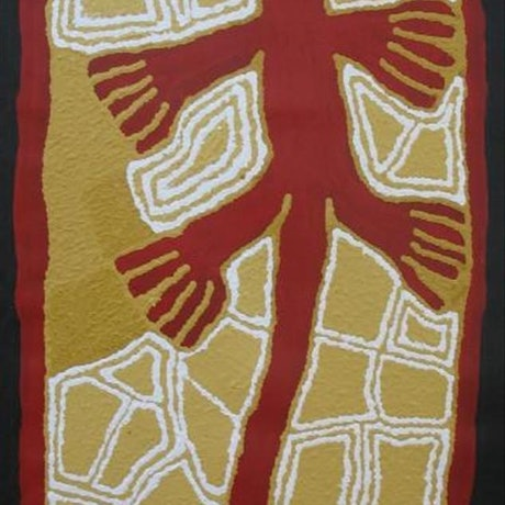 (CreativeWork) Kangaroo Man Catalog no. 556-12 by Linda Syddick Napaltjarri. Acrylic Paint. Shop online at Bluethumb.