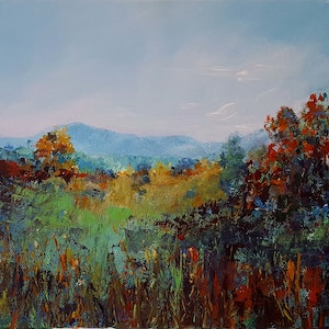 (CreativeWork) Distant Range by Helen Miles. arcylic-painting. Shop online at Bluethumb.