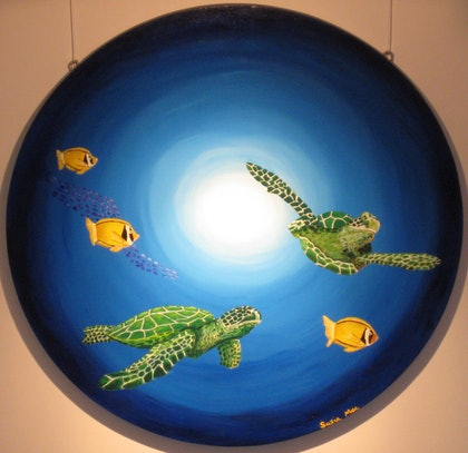 (CreativeWork) Turtles by Susie Mac. arcylic-painting. Shop online at Bluethumb.