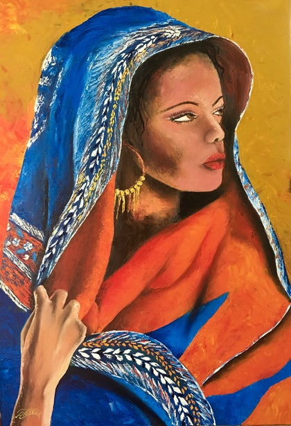 (CreativeWork) The woman in the desert  by atefeh hekmat. oil-painting. Shop online at Bluethumb.