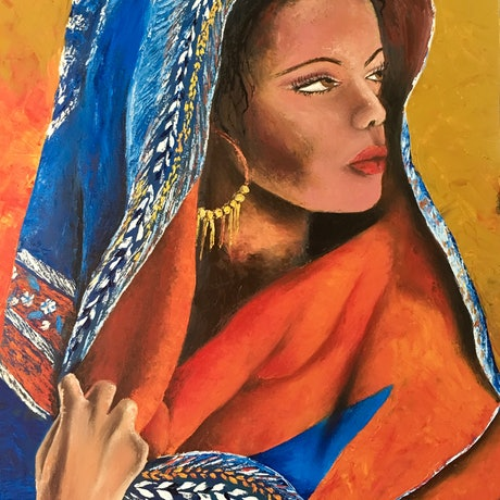 (CreativeWork) The woman in the desert  by atefeh hekmat. Oil Paint. Shop online at Bluethumb.