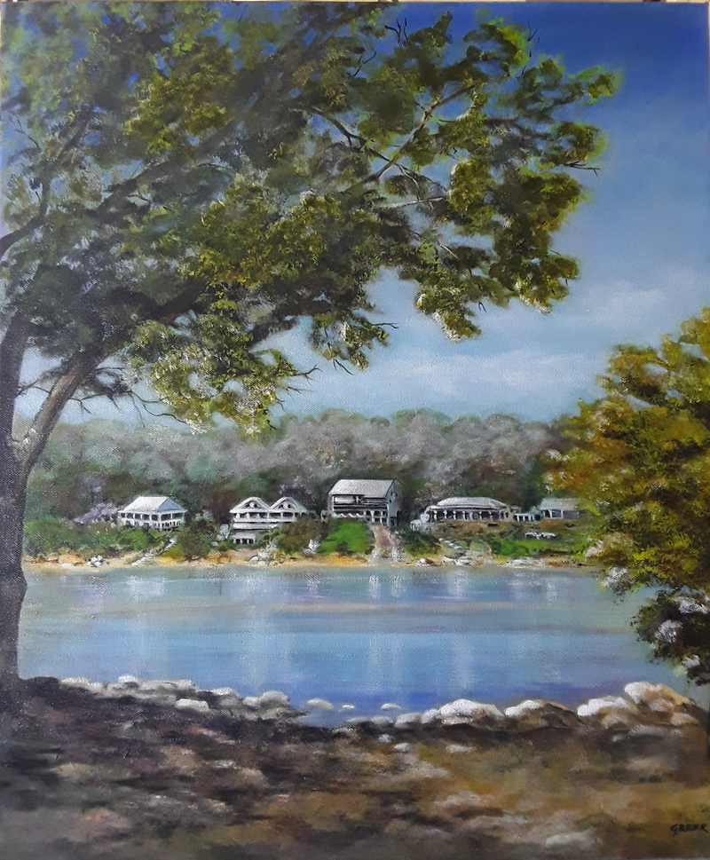 (CreativeWork) Patonga  inlet, N.S.W by Greer Roberts. Acrylic Paint. Shop online at Bluethumb.