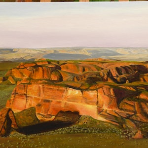 (CreativeWork) Red Rocks of the Kimberley by Robin Tunnicliffe. oil-painting. Shop online at Bluethumb.