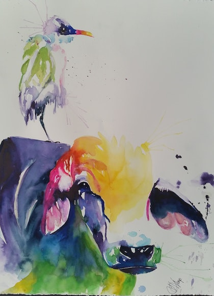 (CreativeWork) cow and egret by Leanne Kremp. watercolour. Shop online at Bluethumb.