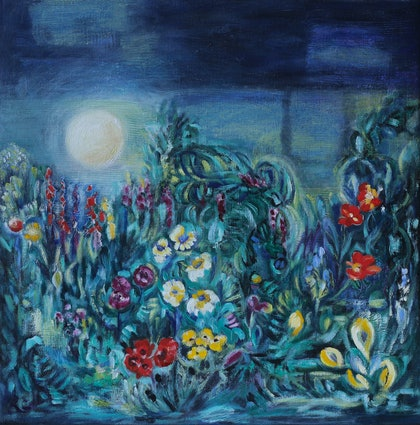 (CreativeWork) Garden under the midnight sun by Raewyn Carboni. oil-painting. Shop online at Bluethumb.