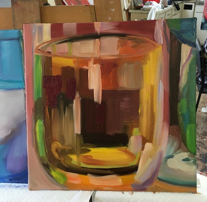 (CreativeWork) 'Glass half full' by Jackie Moss. Oil Paint. Shop online at Bluethumb.