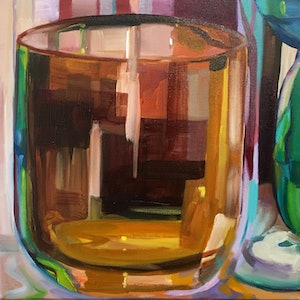 (CreativeWork) 'Glass half full' by Jackie Moss. oil-painting. Shop online at Bluethumb.