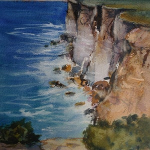 (CreativeWork) CLIFFS AT NULLABOR by Anki Wickison. watercolour. Shop online at Bluethumb.