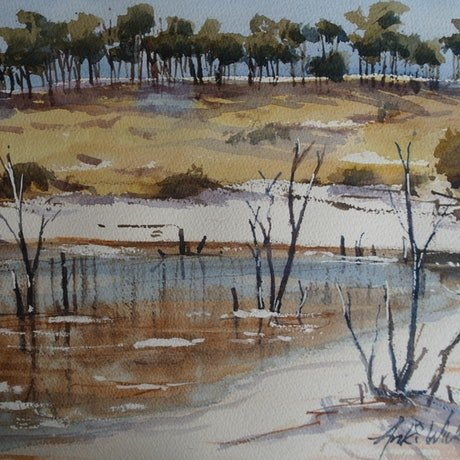 (CreativeWork) SALT LAKE IN SOUTH AUSTRALIA by Anki Wickison. Watercolour Paint. Shop online at Bluethumb.