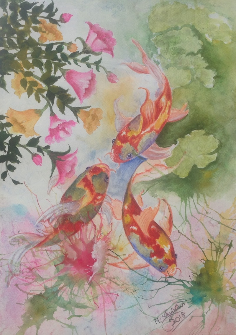 Koi with spring flowers by michael giddens paintings for sale shop online at creativework koi with spring flowers by michael giddens watercolour shop online at mightylinksfo