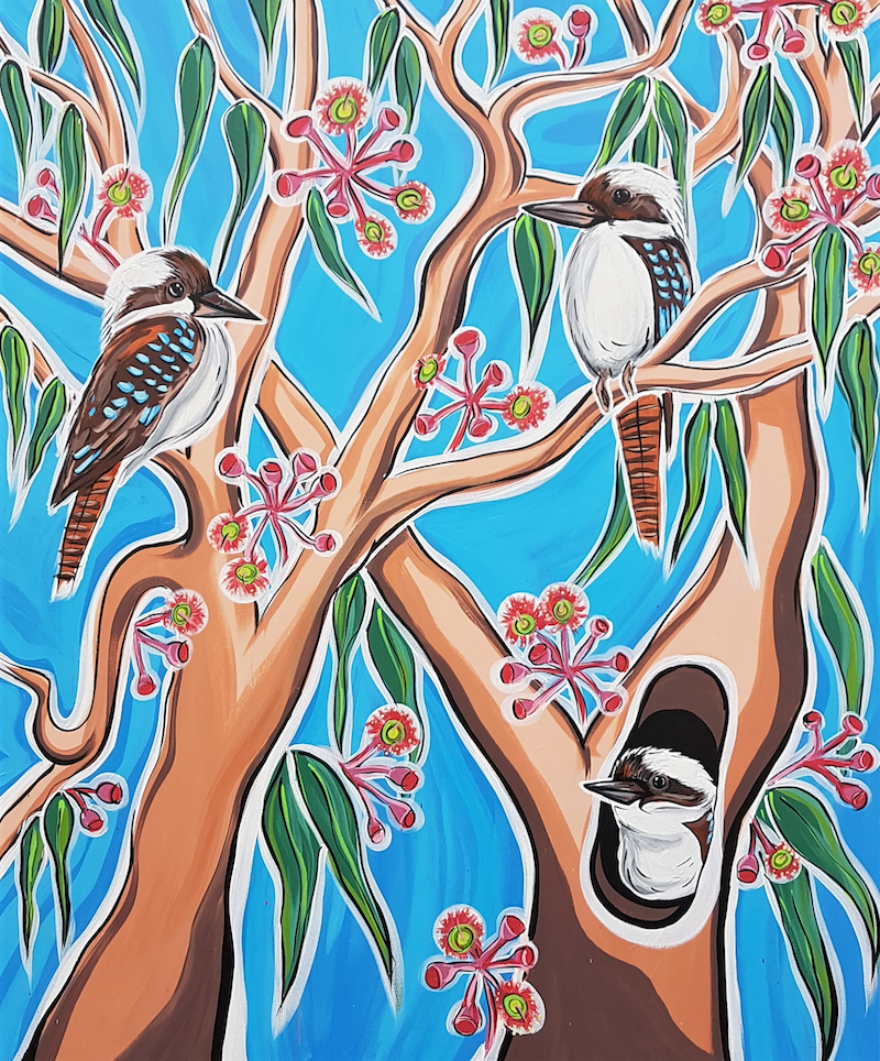(CreativeWork) Kookaburra's in the Gum Trees by Lisa Fahey. arcylic-painting. Shop online at Bluethumb.