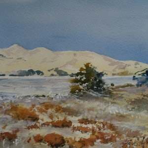 (CreativeWork) WHITE SAND HILLS by Anki Wickison. watercolour. Shop online at Bluethumb.