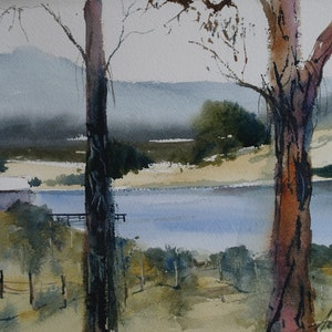 (CreativeWork) OVERLOOKING A VINE YARD by Anki Wickison. watercolour. Shop online at Bluethumb.