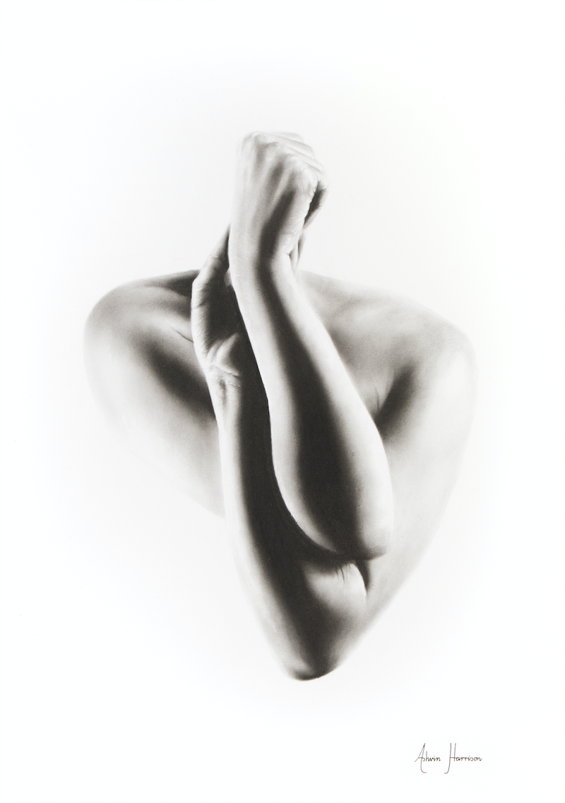 (CreativeWork) Nude Woman Charcoal Study 55 by Ashvin Harrison. drawing. Shop online at Bluethumb.