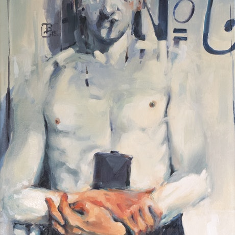 (CreativeWork) Man with Flask ( Uncle Gof , No.6 )  by Tony Belobrajdic. Oil Paint. Shop online at Bluethumb.