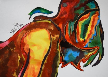 (CreativeWork) contrasting figure by Hiten Mistry. arcylic-painting. Shop online at Bluethumb.