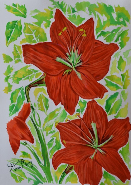 (CreativeWork) red hibiscuses by Hiten Mistry. arcylic-painting. Shop online at Bluethumb.