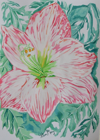 (CreativeWork) white hibiscus by Hiten Mistry. arcylic-painting. Shop online at Bluethumb.