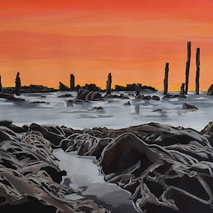 (CreativeWork) Aldinga beach by Hiten Mistry. arcylic-painting. Shop online at Bluethumb.